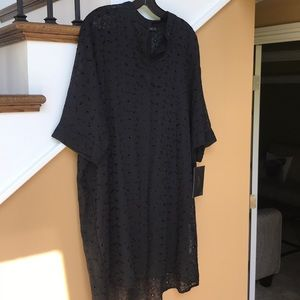 ZARA BASIC black eyelet Dress/Coverup